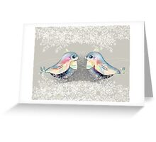 Exotic Silver Lovebirds Greeting Card
