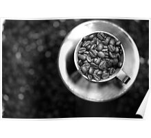 Coffee beans with black and white Poster