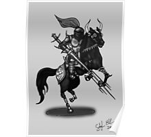 KNIGHT ON HORSE (BLACK AND WHITE) Poster