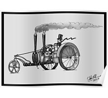 1916 HAPPY FARMER STEAMPUNK TRACTOR (Black and White) Poster