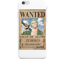Zoro Wanted Poster iPhone Case/Skin