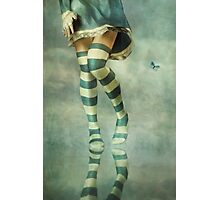 Lovely Girl with Striped Socks Photographic Print