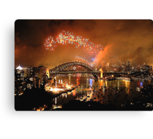 Reflections of New And Old - New Years Eve , Sydney Harbour    Canvas Print