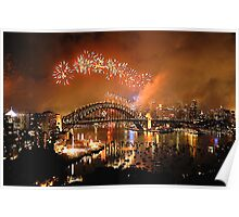Reflections of New And Old - New Years Eve , Sydney Harbour    Poster