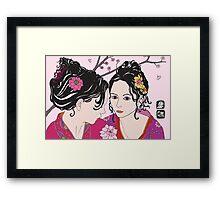 kimono girls with rose Framed Print