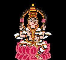 goddess Lakshmi kalamkari black by sriknick