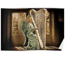 Ƹ̴Ӂ̴Ʒ WINGS OF AN ANGEL PLAYING HARP MUSIC PICTURE,PILLOW, AND OR TOTE BAG Ƹ̴Ӂ̴Ʒ Poster