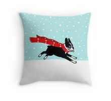 Holiday Boston Terrier Wearing Winter Scarf Throw Pillow