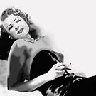 Rita Hayworth  white and black Illustration by Juana Luján