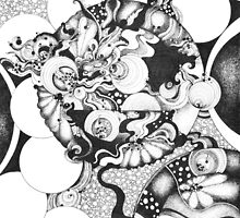 Black and White Doodle, Pointillism by Danielle J. Scott (Smith)
