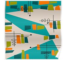 Mid-Century Modern Abstract Space Age Poster