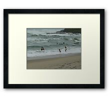 """A nice day for a swim.!""""Come on in the waters fine"""" Framed Print"""