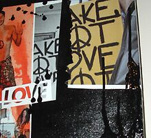 make hot love not war - close up - right side - panaramic canvas by Catherine Young