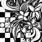 Pen and Ink Flowers on Checkerboard by djsmith70