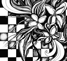 Pen and Ink Flowers on Checkerboard by Danielle J. Scott (Smith)