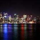 Sydney Harbour skyline at night. by Victoria Ashman