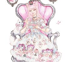 Cat's Tea Party Watercolor Transparent Painting by aini