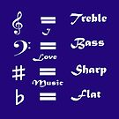 I ♥ Music (Style #1 White on Dark Colours) by C J Lewis