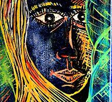 """Woodcut Girl Print by Belinda """"BillyLee"""" NYE (Printmaker)"""