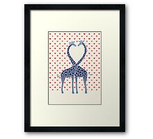 Giraffes in Love - A Valentine's Day Illustration Framed Print