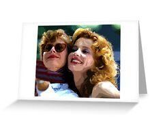 Susan Sarandon And Geena Davies Alias Thelma And Louis - Watercolor Greeting Card