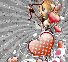 Pink hearts with floral and cupid 3 by AnnArtshock
