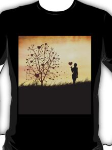 Silhouette of a girl with a heart and tree T-Shirt