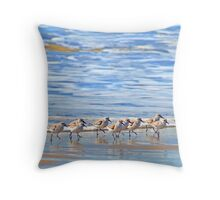 We're following the leader... Sandpipers in Goleta Beach California Throw Pillow