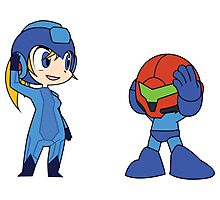 Chibi Zero Suit Samus and Megaman Photographic Print