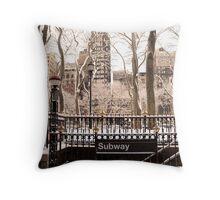 Subway Snow Throw Pillow