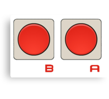 A B Buttons, NES controller pad. Canvas Print