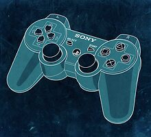 Distressed Playstation Controller in Cyan by ChristineWilson