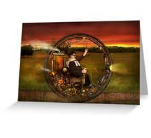 Steampunk - The gentleman's monowheel Greeting Card