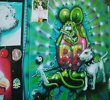shop door airbrushed by Airbrushr  Rick Shores