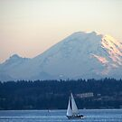 Mount Rainier above Lake Washington by pinklilypress