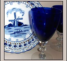 Delft Plate and Blue Goblets by Ginny Schmidt