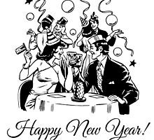 Happy New Year Couple of some bygone age by cartoon
