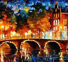 Amsterdam, Old Bridge — Buy Now Link - www.etsy.com/listing/213404917 by Leonid  Afremov
