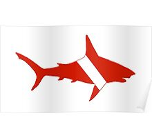 Shark Scuba Diver Silhouette Poster