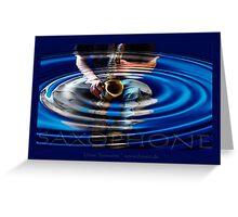 saxophone - blue Greeting Card