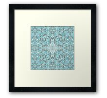 Soft Teal Blue & Grey hand drawn floral pattern Framed Print