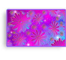 Petal Sparkle Pink and Aqua Canvas Print