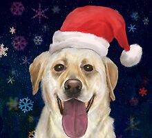 Painting of a Gorgeous Golden Retriever with Red Santa Claus Hat by ibadishi