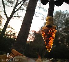 Traditionally Handcrafted Brown Glass Hafted Arrowhead Pendant Necklace by VisionQuestArts