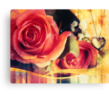 Card with rose and pendant 2 Canvas Print
