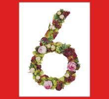 The number six Part of a set of letters, Numbers and symbols of the Alphabet made with flowers Kids Clothes
