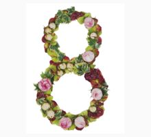 The number Eight Part of a set of letters, Numbers and symbols of the Alphabet made with flowers Kids Clothes