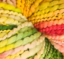 Bright colorful yarn by Ilze Lucero