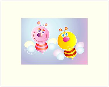 Bumble Bee and Honey Bee by Bessie Ho