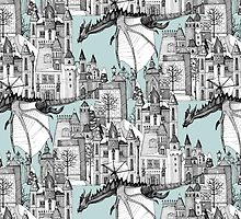 Dragon Kingdom Winter Toile blue by Sharon Turner